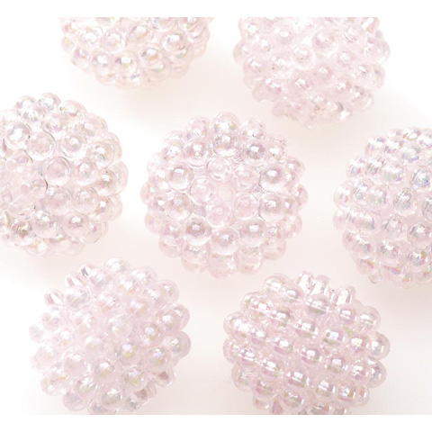 Acrylic Berry Beads - Transparent Light Pink AB - 15mm