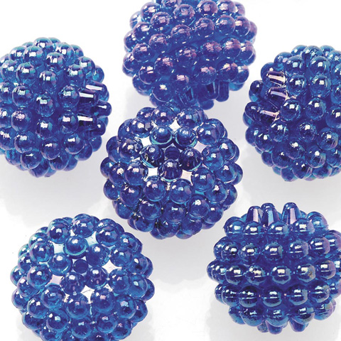 Acrylic Berry Beads - Transparent Dark Sapphire AB - 15mm