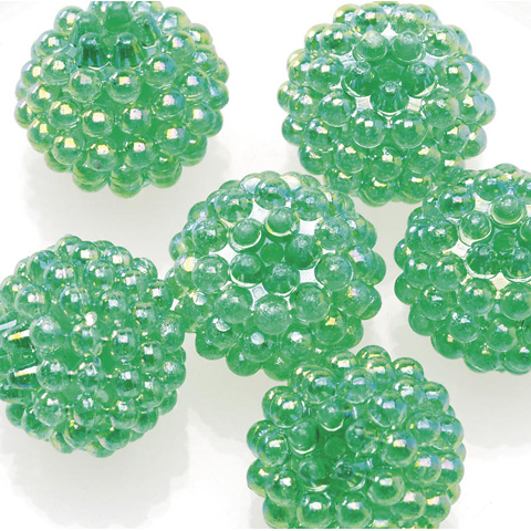 Acrylic Berry Beads - Transparent Christmas Green AB - 15mm