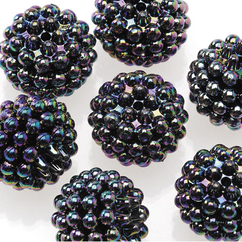 Acrylic Berry Beads - Black Opaque AB - 15mm