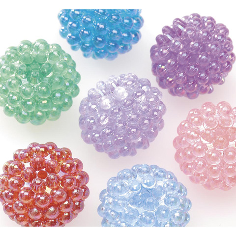 Acrylic Berry Beads - Assorted Transparent AB Colors - 15mm