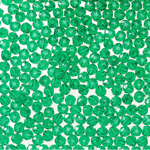 Faceted Acrylic Beads - Christmas Green - 10mm - 48 pieces