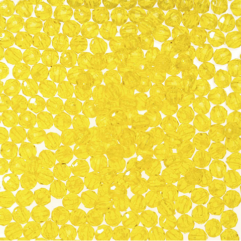 Faceted Acrylic Beads - Acid Yellow - 6mm - 1000 pieces