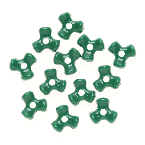 Tri-Beads - Opaque Green - 11mm