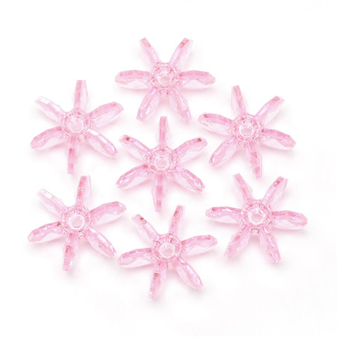 Starflake Beads - Transparent Pink - 18mm - 500 pieces