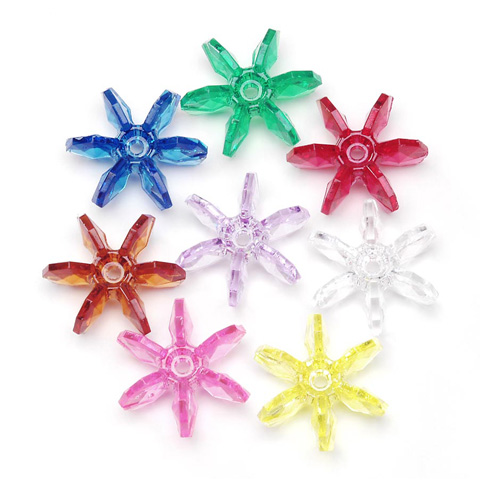 Starflake Beads - Assorted Transparent Colors - 18mm - 500 pieces