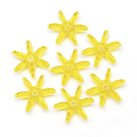Starflake Beads - Transparent Acid Yellow - 18mm - 500 pieces