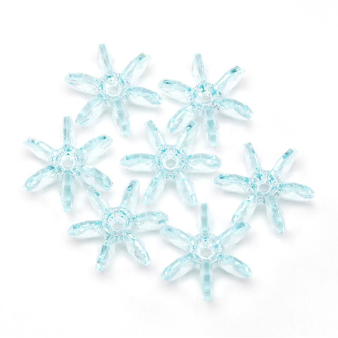 Starflake Beads - Transparent Light Aqua - 18mm - 500 pieces