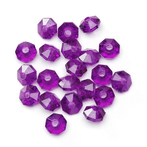 Plastic Beads - Faceted Rondelle - Dark Amethyst - 6mm - 1000 pieces