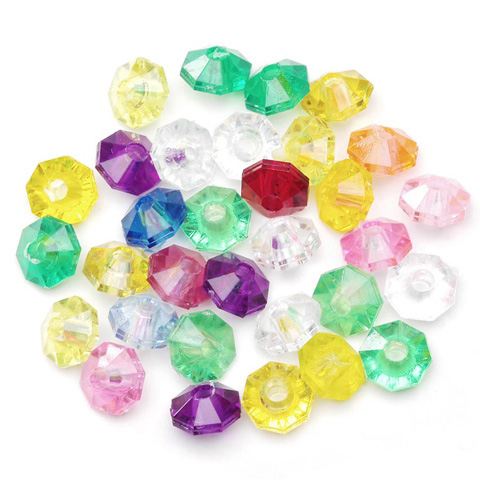 Plastic Beads - Faceted Rondelle - Assorted Transparent Colors - 6mm - 1000 pieces
