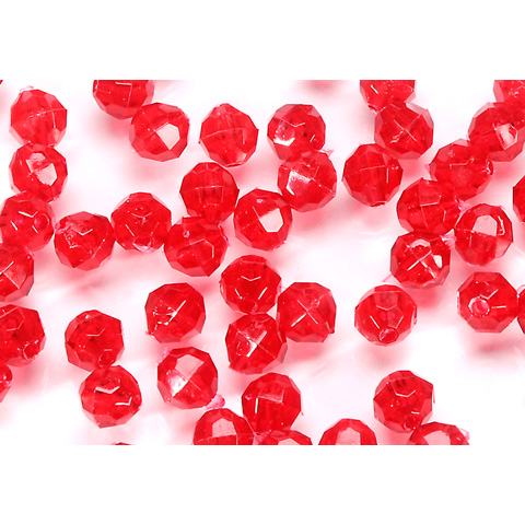 Faceted Acrylic Beads - Round - Transparent Christmas Red - 10mm - 144 pieces