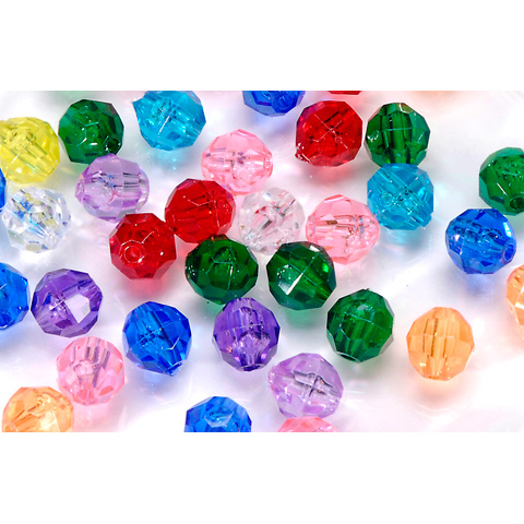 Faceted Acrylic Beads - Round - Assorted Transparent Colors - 10mm - 144 pieces