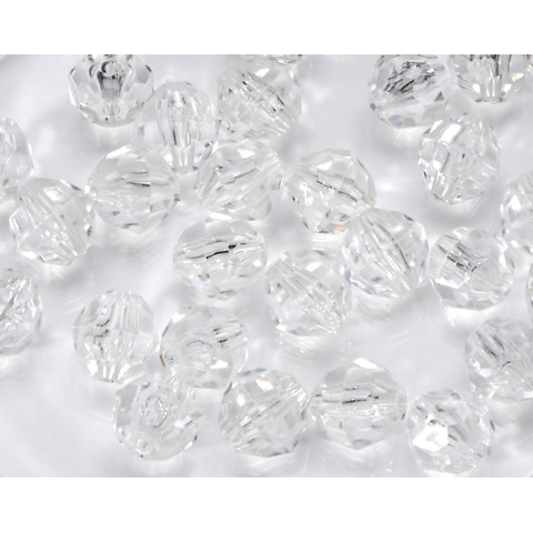 Faceted Acrylic Beads - Round - Crystal - 12mm - 144 pieces