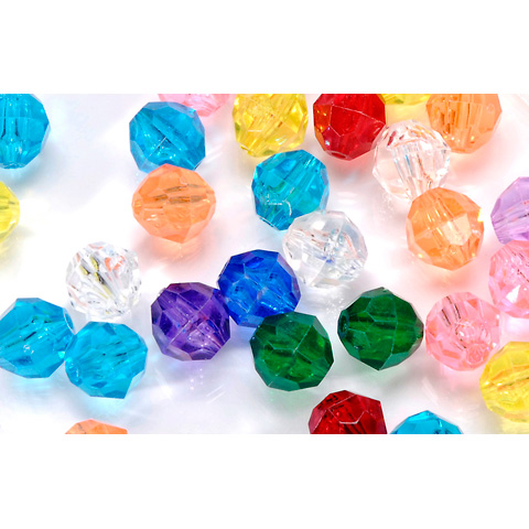 Faceted Acrylic Beads - Round - Assorted Transparent Colors - 12mm - 144 pieces