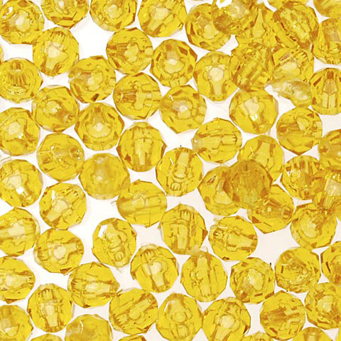 Faceted Acrylic Beads - Round - Transparent Sun Gold - 12mm - 144 pieces