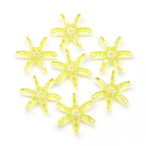 Starflake Beads - Transparent Yellow - 25mm - 144 pieces