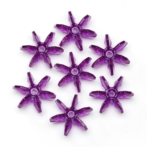 Starflake Beads - Transparent Dark Amethyst - 25mm - 144 pieces