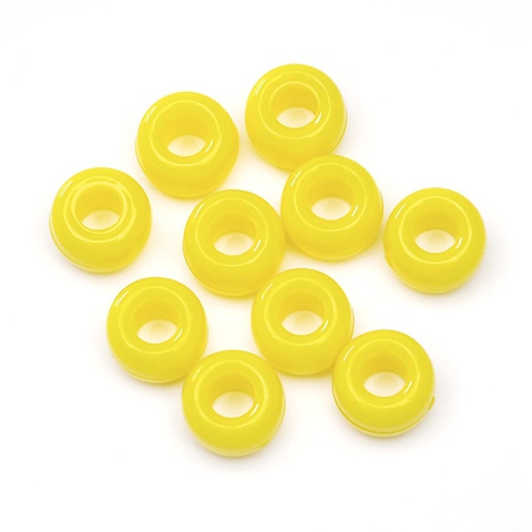 Pony Beads - Opaque Lemon - 6 x 9mm - 70 pieces