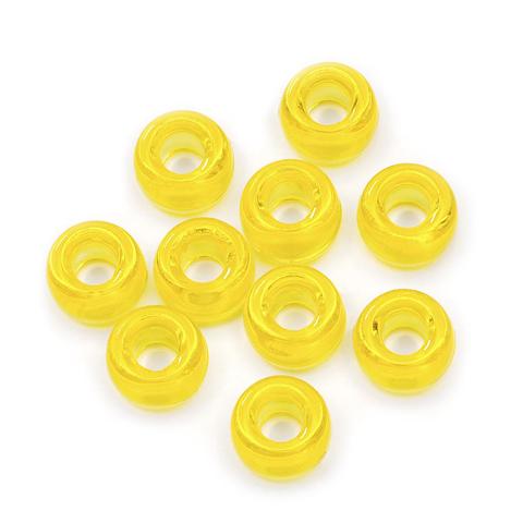 Pony Beads - Neon Lemon - 6 x 9mm - 65 pieces