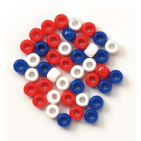 Pony Beads - USA Red White and Blue - 6 x 9mm - 720 pieces