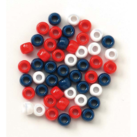Pony Beads - Plastic - Opaque USA Colors - 9mm - 720 pcs