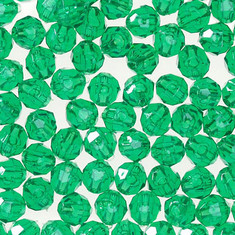 Faceted Acrylic Beads - Round - Transparent Christmas Green - 4mm - 1000 pieces