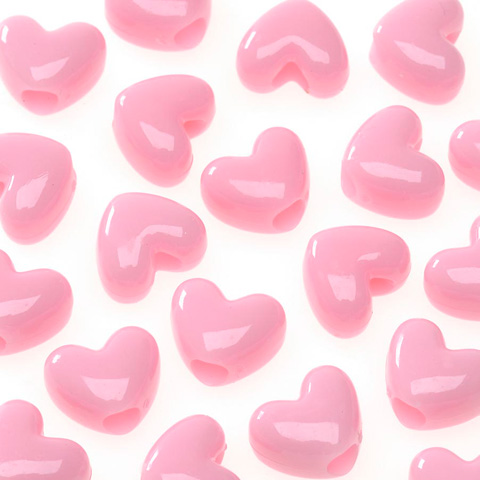 Pony Beads - Acrylic - Heart - Opaque Pink - 11mm - 65 pieces