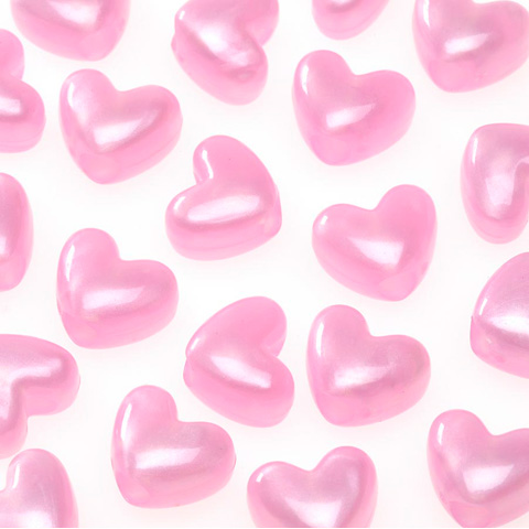 Pony Beads - Acrylic - Heart - Pink Pearl - 6 x 9mm 65 pieces