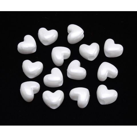 Pony Beads - Acrylic - Heart - White Pearl - 11mm - 65 pieces