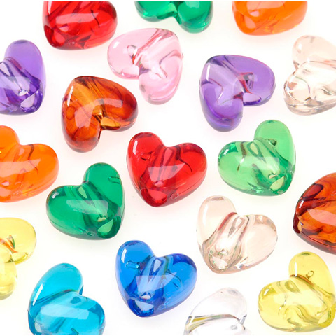 Pony Beads - Acrylic - Heart - Assorted Transparent Colors - 9mm - 65 pieces