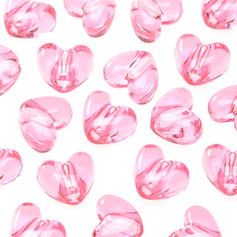 Pony Beads - Acrylic - Heart - Transparent Pink - 9mm - 65 pieces