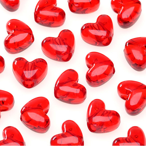 Pony Beads - Acrylic - Heart - Transparent Christmas Red - 9mm - 65 pieces