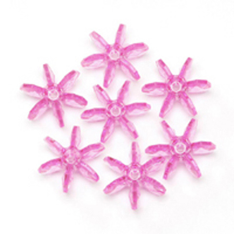 Starflake Beads - Transparent Hot Pink - 12mm - 1000 pieces