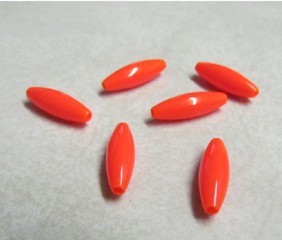 Spaghetti Bead - Oval - Opaque Orange - 19 x 6mm