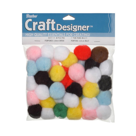 Acrylic Pom Poms - Multi Color - 1 inch - 40 pieces