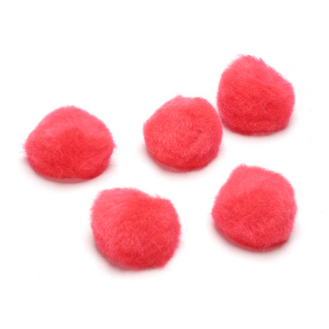 Acrylic Pom Poms - Red - 7mm - 30 pieces