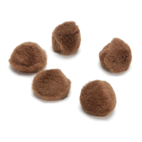 Acrylic Pom Poms - Light Brown - .5 inch - 100 pieces