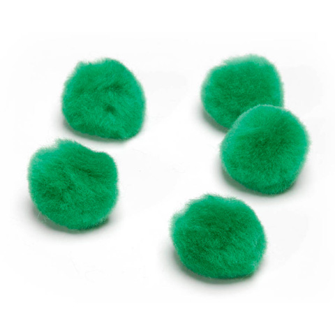 Acrylic Pom Poms - Kelly Green - 1.5 inches - 15 pieces