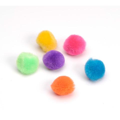 Acrylic Pom Poms - Bold Colors - 1/4 inch - 100 pcs