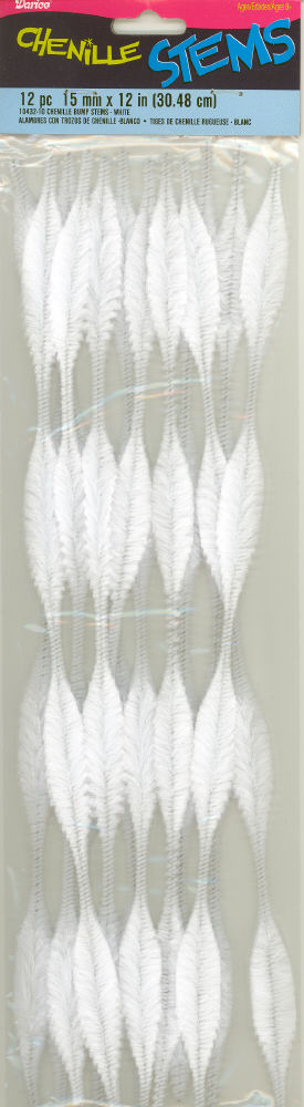 Bump Chenille Stems - 15mm - White - 12 pieces