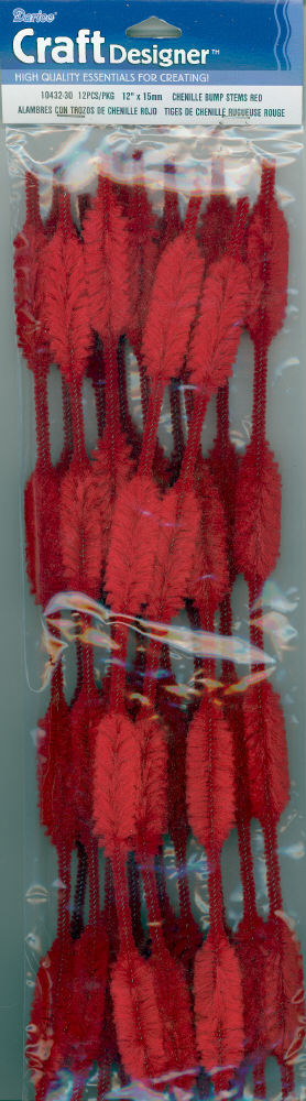 Bump Chenille Stems - 15mm - Red - 12 pieces
