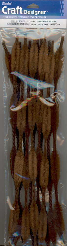 Bump Chenille Stems - 15mm - Brown - 12 pieces