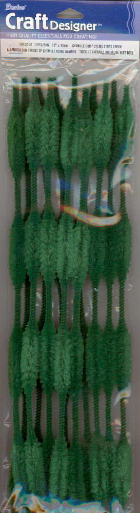 Bump Chenille Stems - 15mm - Emerald Green - 12 pieces