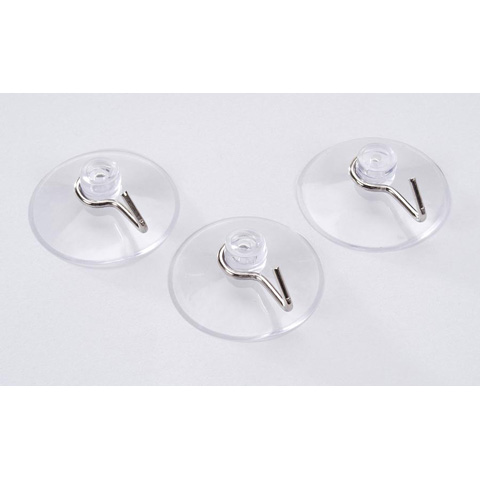 Suction Cups - Clear with Silver Hooks - 42mm - 3 pieces