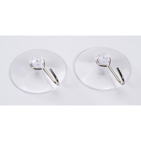 Suction Cups - Clear with Silver Hooks - 60mm - 2 pieces