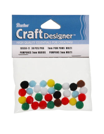 Acrylic Pom Poms - Multi - 7mm - 30 pieces