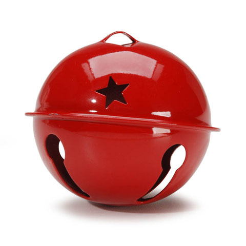 Jingle Bell - Red with Star Cutouts - 2.75 inches