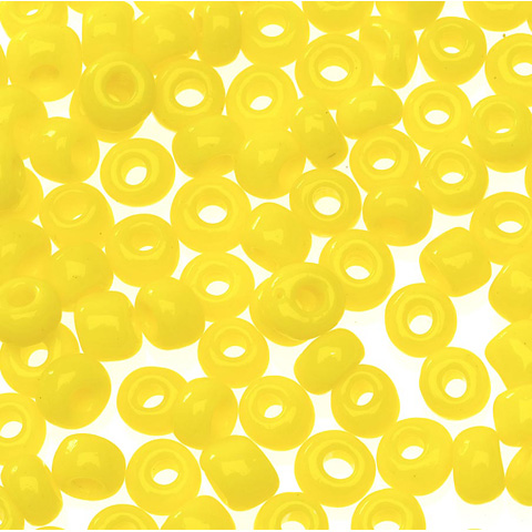 Glass E Beads - Yellow - 6/0