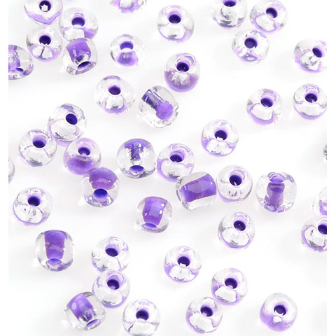 Glass Seed Beads - Clear Purple - 6/0