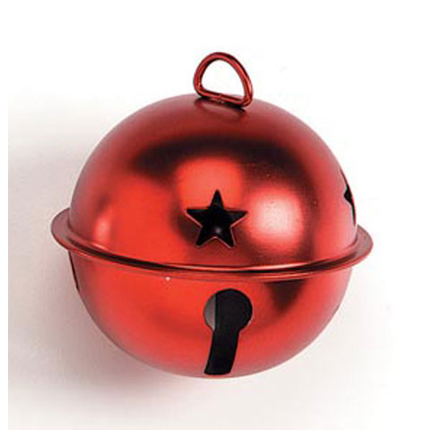 Jingle Bell with Star cutouts - Matte Red - 65mm